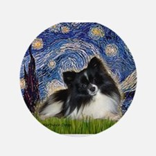 "Starry Night / Pomeranian (b&w) 3.5"" Button"