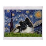 Starry Night / Pomeranian (b&w) Throw Blanket
