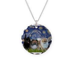 Starry/3 Pomeranians Necklace Circle Charm