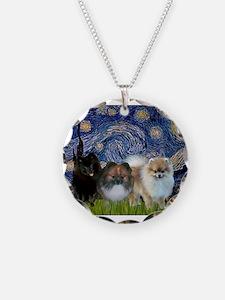 Starry/3 Pomeranians Necklace