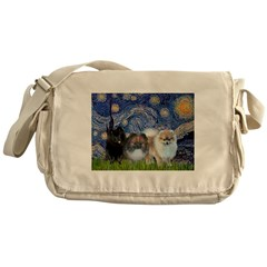 Starry/3 Pomeranians Messenger Bag
