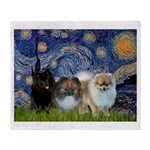 Starry/3 Pomeranians Throw Blanket