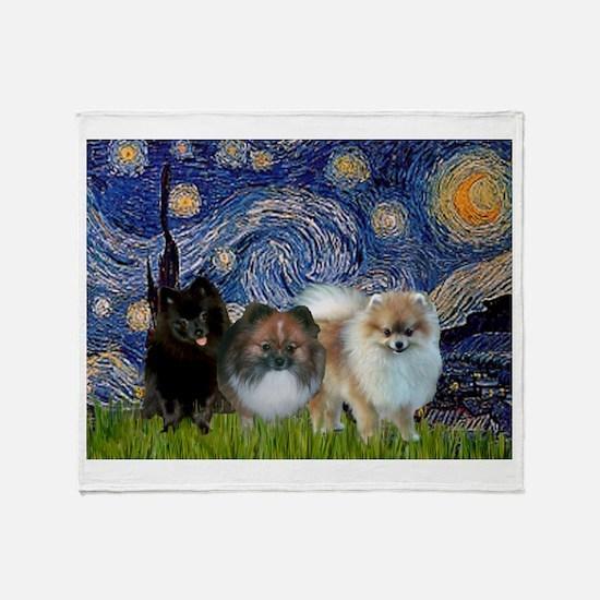 Starry/3 Pomeranians Throw Blanket