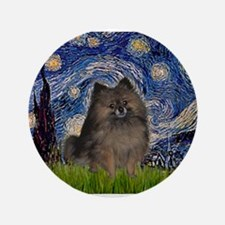 "Starry Night /Pomeranian(bndl ) 3.5"" Button"
