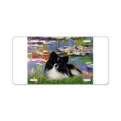 Lilies / Pomeranian (b&w) Aluminum License Plate