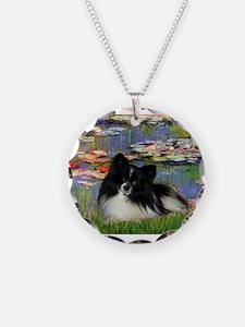Lilies / Pomeranian (b&w) Necklace Circle Charm