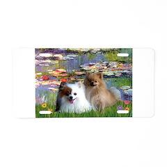 Lilies / 2 Pomeranians Aluminum License Plate