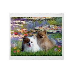 Lilies / 2 Pomeranians Throw Blanket