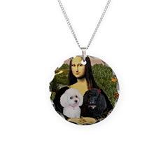Mona & 2 Poodles Necklace Circle Charm