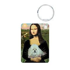 Mona Lisa/Poodle (white/toy) Aluminum Photo Keycha