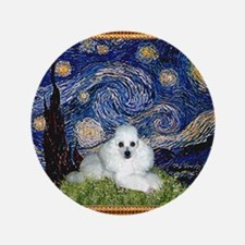 "Starry Night / Poodle(w) 3.5"" Button"