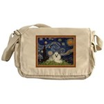 Starry Night / Poodle(w) Messenger Bag
