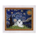 Starry Night / Poodle(w) Throw Blanket