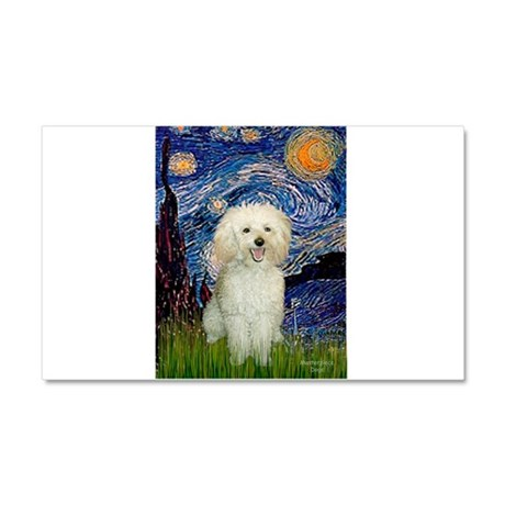Starry / Poodle (White) Car Magnet 20 x 12