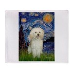 Starry / Poodle (White) Throw Blanket