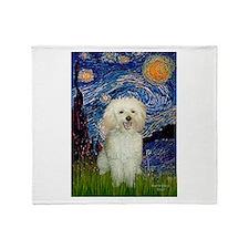 Starry / Poodle (White) Throw Blanket