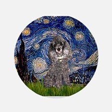 """Starry Night / Poodle (s) 3.5"""" Button"""