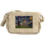 Starry Night / Poodle (s) Messenger Bag