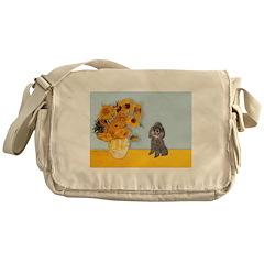 Sunflowers / Poodle (Silver) Messenger Bag