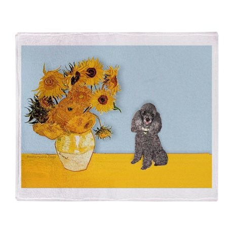 Sunflowers / Poodle (Silver) Throw Blanket