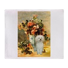 Vase / Poodle (White) Throw Blanket