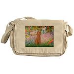 Garden/Std Poodle (apricot) Messenger Bag