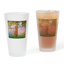Garden/Std Poodle (apricot) Drinking Glass