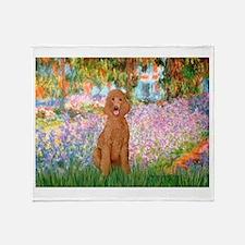 Garden/Std Poodle (apricot) Throw Blanket