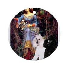 Ophelia /2 Poodles(b&w) Ornament (Round)