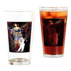 Ophelia /2 Poodles(b&w) Drinking Glass