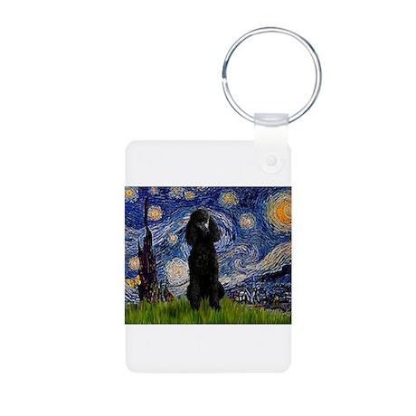 Starry / Std Poodle(bl) Aluminum Photo Keychain