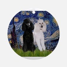 Starry Night / 2 Poodles(b&w) Ornament (Round)