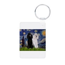 Starry Night / 2 Poodles(b&w) Keychains