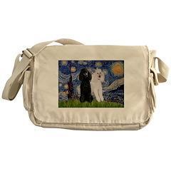 Starry Night / 2 Poodles(b&w) Messenger Bag