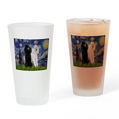 Starry Night / 2 Poodles(b&w) Drinking Glass