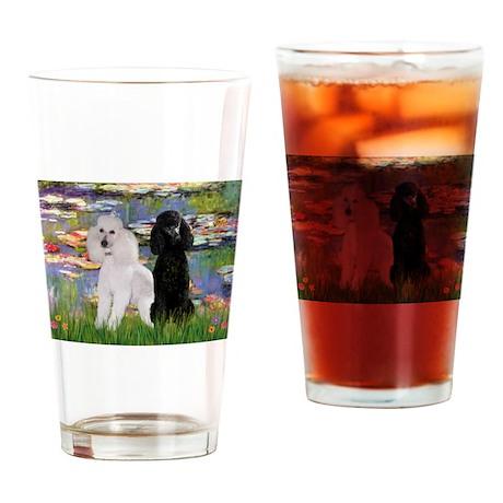Lilies / 2 Poodles(b&w) Drinking Glass