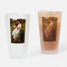 Windflowers / Poodle (BLk-ST) Drinking Glass