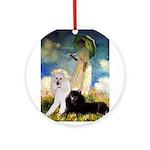 Umbrella / 2 Poodles(b & w) Ornament (Round)