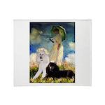 Umbrella / 2 Poodles(b & w) Throw Blanket