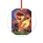 Mandolin Angel / Black Pug Ornament (Round)