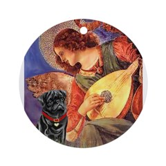 Mandolin Angel / Black Pug Ornament (Round)