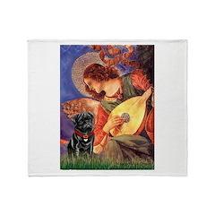 Mandolin Angel / Black Pug Throw Blanket