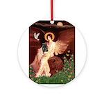 Winged Figure / Black Pug Ornament (Round)
