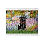 Garden / Black Pug Throw Blanket