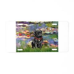 Lilies (#2) & Black Pug Aluminum License Plate