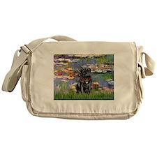 Lilies (#2) & Black Pug Messenger Bag
