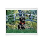Bridge / Black Pug Throw Blanket
