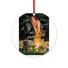Fairies & Black Pug Ornament (Round)