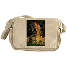 Fairies & Black Pug Messenger Bag