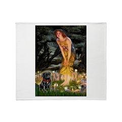 Fairies & Black Pug Throw Blanket